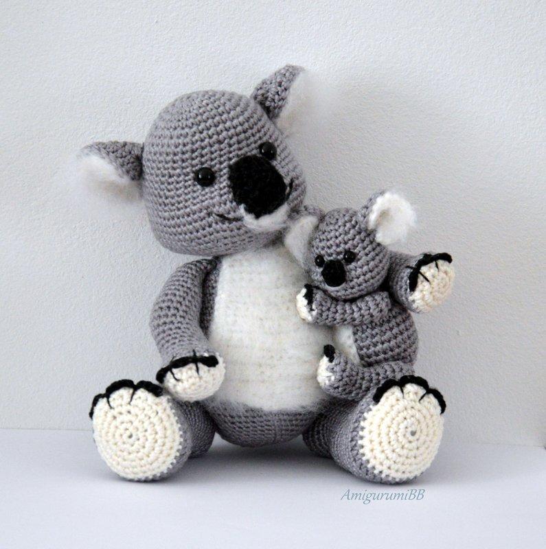 Amigurumi koala with heart pattern | Teddy häkeln, Stricken und ... | 800x795